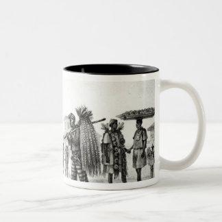 Casa para el alquiler, el caballo y la cabra para taza de café de dos colores