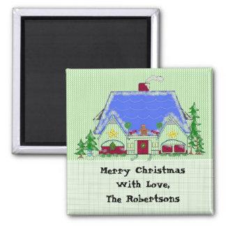 Casa personalizada del navidad imán cuadrado