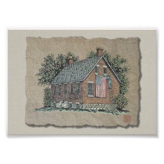 Casa pintoresca y bandera americana arte fotográfico