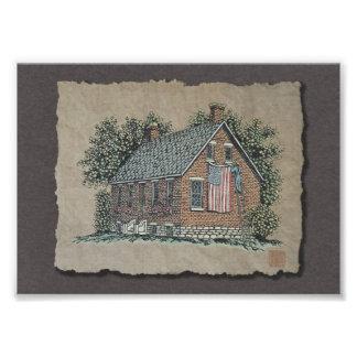 Casa pintoresca y bandera americana foto