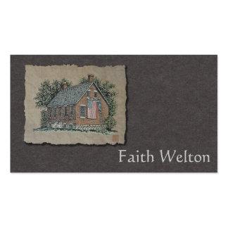 Casa pintoresca y bandera americana tarjetas de visita