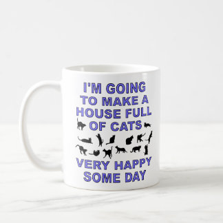 Casa por completo de señora divertida Mug del gato Taza Básica Blanca