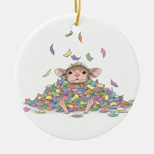 Casa-Ratón Designs® - ornamentos de la Feliz Año Adorno Navideño Redondo De Cerámica
