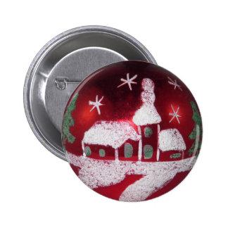 Casa roja de cristal de la nieve del navidad de pin redondo de 2 pulgadas