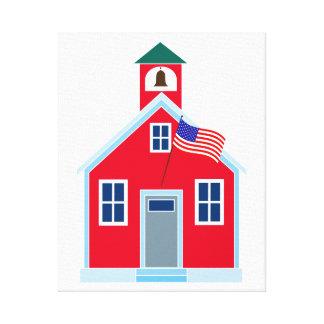 Casa roja de la escuela lienzo envuelto para galerias