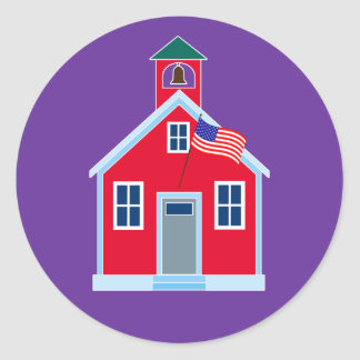 Casa roja de la escuela pegatina redonda
