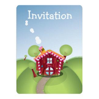 """Casa roja del caramelo del dibujo animado en la invitación 6.5"""" x 8.75"""""""