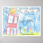 """Casa roja"" por C Thibodeaux, edad 6 Impresiones"