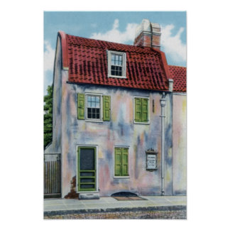 Casa rosada de Charleston Carolina del Sur Posters