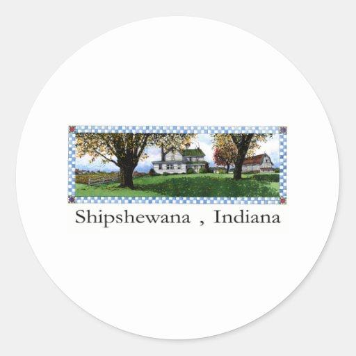 Casa Shipshewana Indiana de Amish Pegatina Redonda