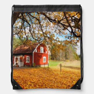 Casa sueca roja entre las hojas de otoño