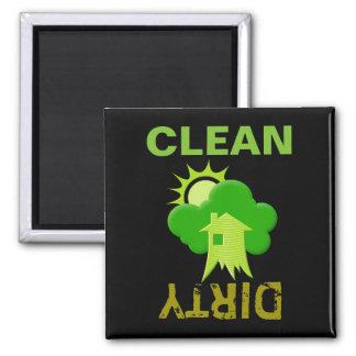 Casa verde imán cuadrado