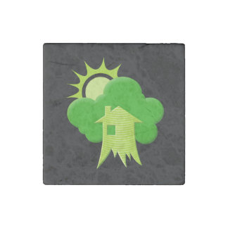 Casa verde imán de piedra