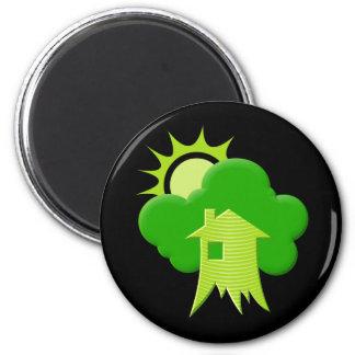 Casa verde imán redondo 5 cm