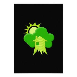 """Casa verde invitación 3.5"""" x 5"""""""