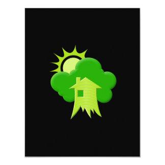 """Casa verde invitación 4.25"""" x 5.5"""""""