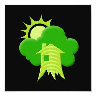 """Casa verde invitación 5.25"""" x 5.25"""""""