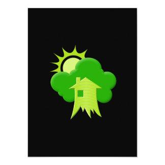 """Casa verde invitación 5.5"""" x 7.5"""""""
