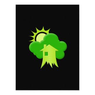 """Casa verde invitación 6.5"""" x 8.75"""""""
