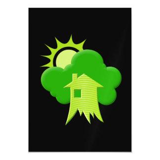 Casa verde invitaciones magnéticas