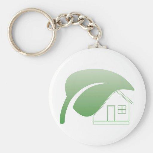 casa verde llavero redondo tipo pin