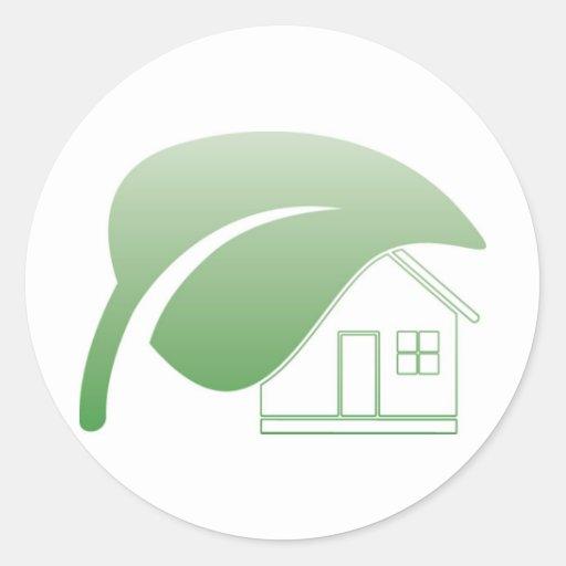 casa verde pegatina redonda