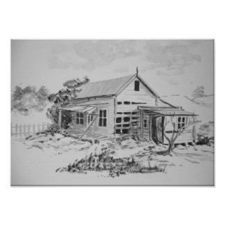 Casa vieja de la granja póster