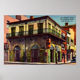 Casa vieja del ajenjo de New Orleans Luisiana Póster