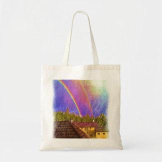 Casa y arco iris bolsas