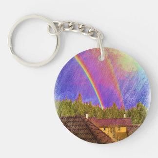 Casa y arco iris llavero