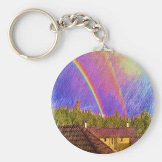 Casa y arco iris llavero personalizado