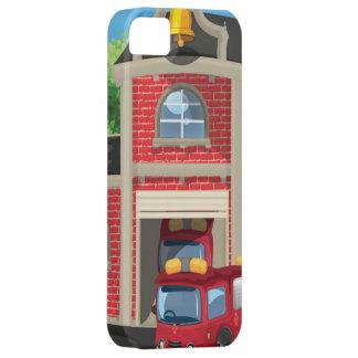 Casa y coche de bomberos del fuego iPhone 5 Case-Mate carcasas
