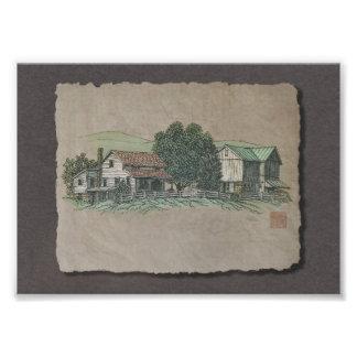 Casa y granero de Amish Cojinete