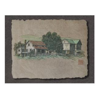 Casa y granero de Amish Postal
