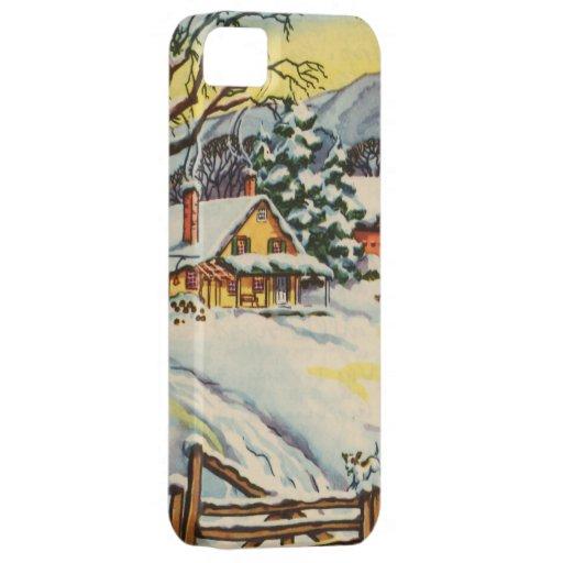 Casa y granero en invierno iPhone 5 carcasa