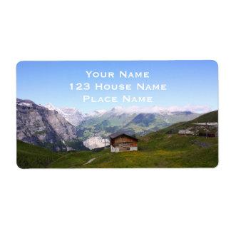Casa y montañas suizas etiqueta de envío