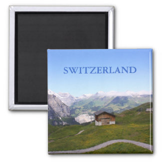Casa y montañas suizas imán para frigorífico