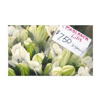 Casablanca Lilies at Farmer's Market Canvas Print