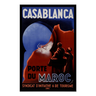 Casablanca Pore Du Maroc Travel Poster