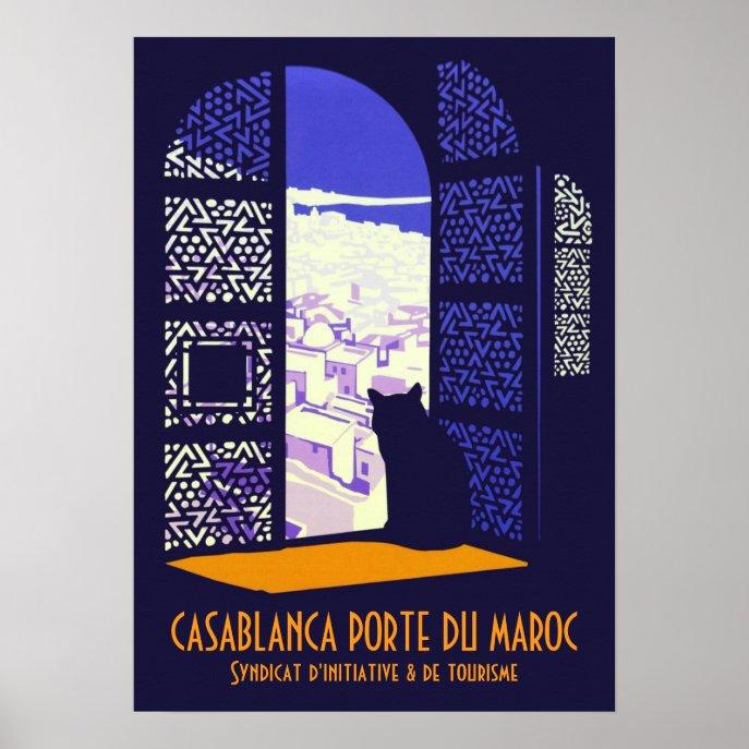 Casablanca porte du Maroc vintage travel CC0717 Poster