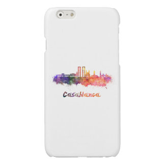 Casablanca V2 skyline in watercolor Glossy iPhone 6 Case