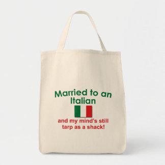 Casado con un italiano bolsa tela para la compra