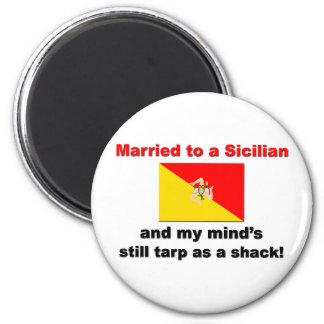 Casado con un siciliano… imán redondo 5 cm