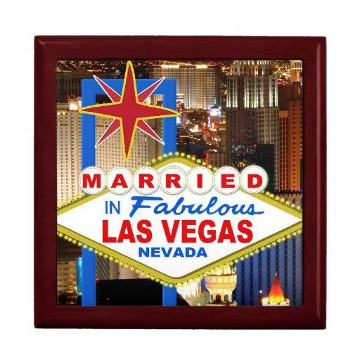 Casado en caja de regalo de Las Vegas Joyero Cuadrado Grande