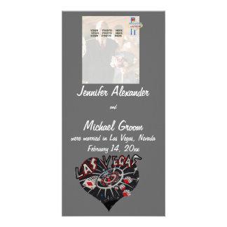 Casado en la invitación de la foto de Las Vegas Tarjeta Fotográfica Personalizada