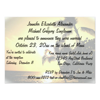 Casado en la invitación de Maui con la foto del Invitación 13,9 X 19,0 Cm