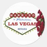CASADO en pegatina de los rosas rojos de Las Vegas