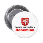 Casado feliz con un bohemio pin redondo 5 cm