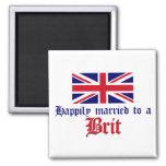Casado feliz con un británico imán de nevera