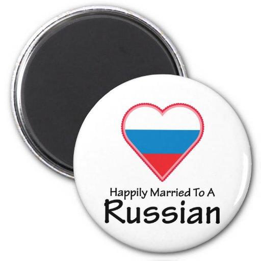 Casado feliz con un ruso imán de nevera